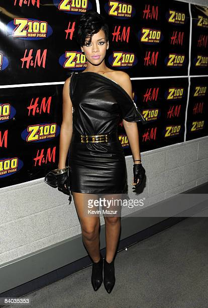 NEW YORK DECEMBER 12 Rihanna poses backstage during Z100's Jingle Ball 2008 Presented by HM at Madison Square Garden on December 12 2008 in New York...