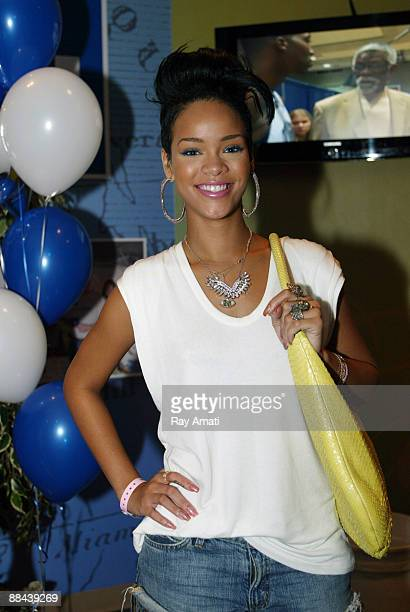 Rihanna poses for a photo during Game Four of the 2009 NBA Finals between the Orlando Magic and the Los Angeles Lakers at Amway Arena on June 11 2009...
