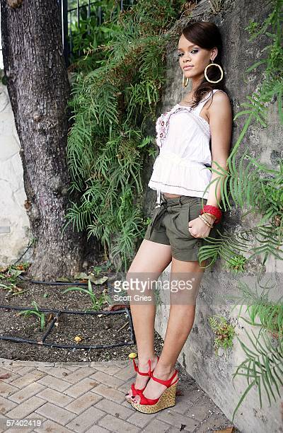 Rihanna poses for a portrait before a party to celebrate the release of her new album A Girl Like Me on April 22 2006 in her hometown of St Michael...