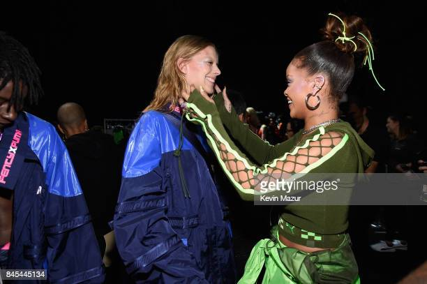 Rihanna prepares models backstage at the FENTY PUMA by Rihanna Spring/Summer 2018 Collection at Park Avenue Armory on September 10, 2017 in New York...