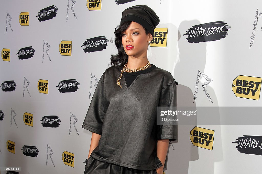 Rihanna promotes 'Unapologetic' at Best Buy Theater on November 20, 2012 in New York City.
