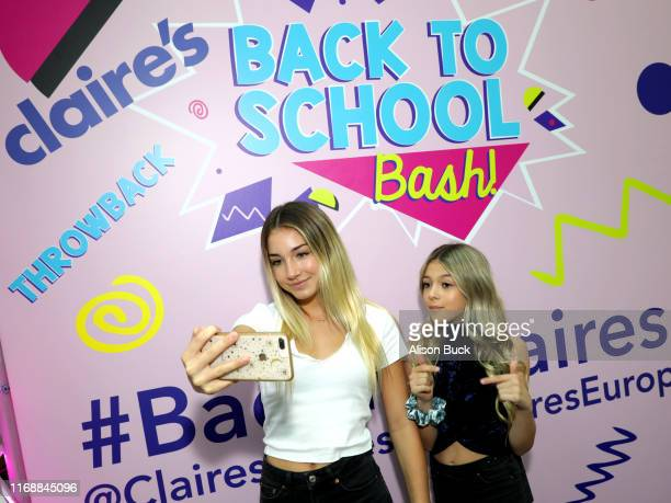 Rihanna Quinn and Coco Quinn attend the Claire's Back to School Bash at the Westfield Topanga on August 18, 2019 in Canoga Park, California.