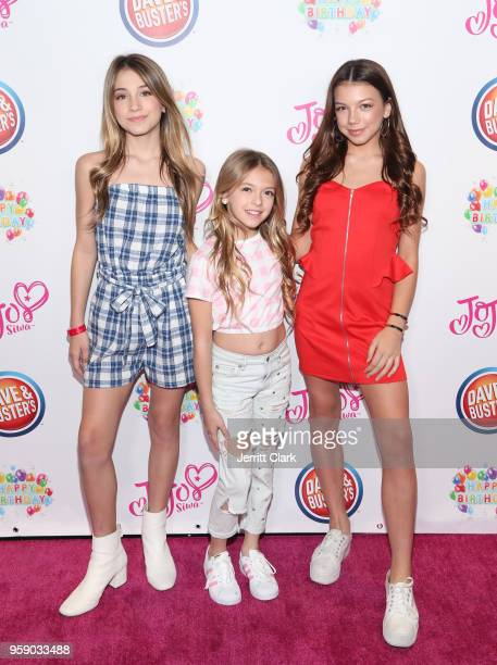 Rihanna Quinn Coco Quinn and Kaylee Quinn attends JoJo Siwa's 15th Birthday Party at Dave Busters on May 15 2018 in Hollywood California