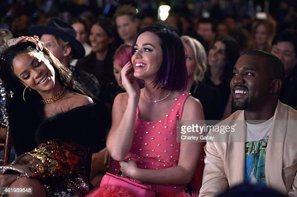 Rihanna recording artist Katy Perry and recording artist Kanye West attend The DAILY FRONT ROW Fashion Los Angeles Awards Show at Sunset Tower on...
