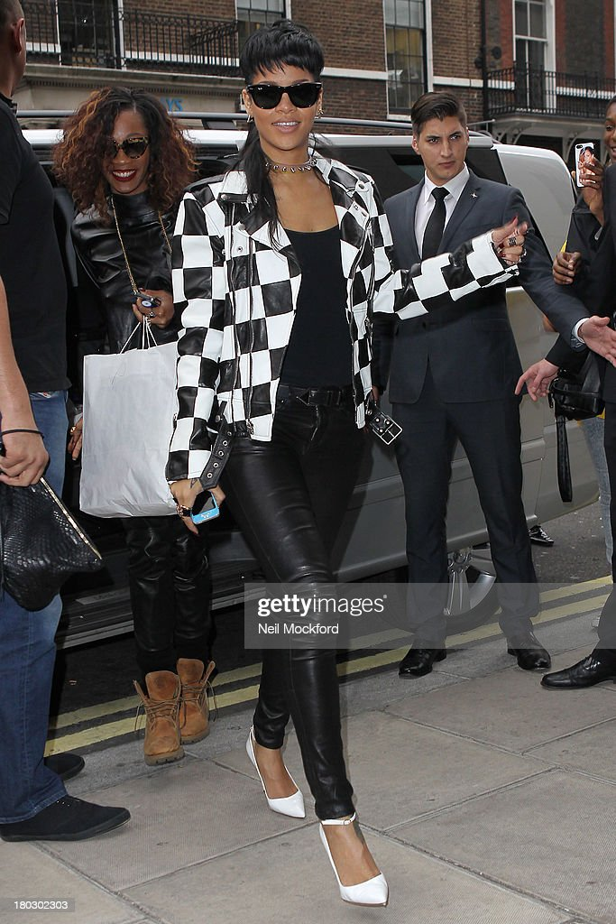 Rihanna seen arriving at her hotel on September 11, 2013 in London, England.