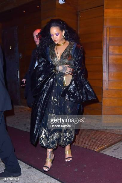 Rihanna seen at 1Oak nightclub after partying with rumor boyfriend Hassan Jameel after attending the 2018 Grammy Awards after party on January 28...