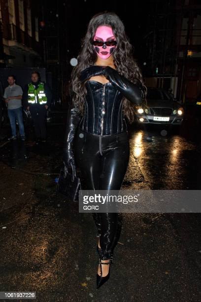 Rihanna seen leaving Annabels Halloween Party in Mayfair on October 31 2018 in London England