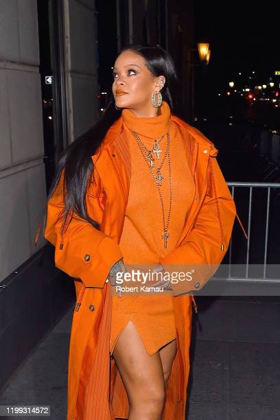 Rihanna seen out working in Manhattan on February 7, 2020 in New York City.