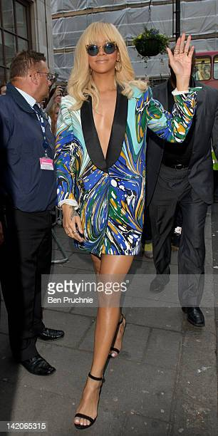 Rihanna sighted arriving at BBC Radio One on March 29 2012 in London England