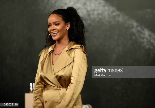 Rihanna speaks during her Fenty Beauty talk in collaboration with Sephora for the launch of her new Stunna Lip paint 'Uninvited' on September 29 2018...