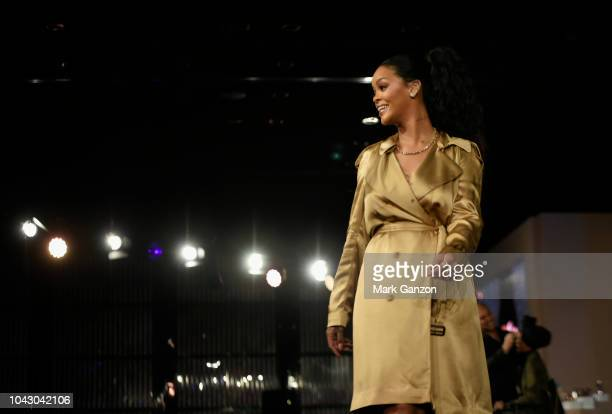 Rihanna speaks during her Fenty Beauty talk in collaboration with Sephora for the launch of her new Stunna Lip paint Uninvited on September 29 2018...