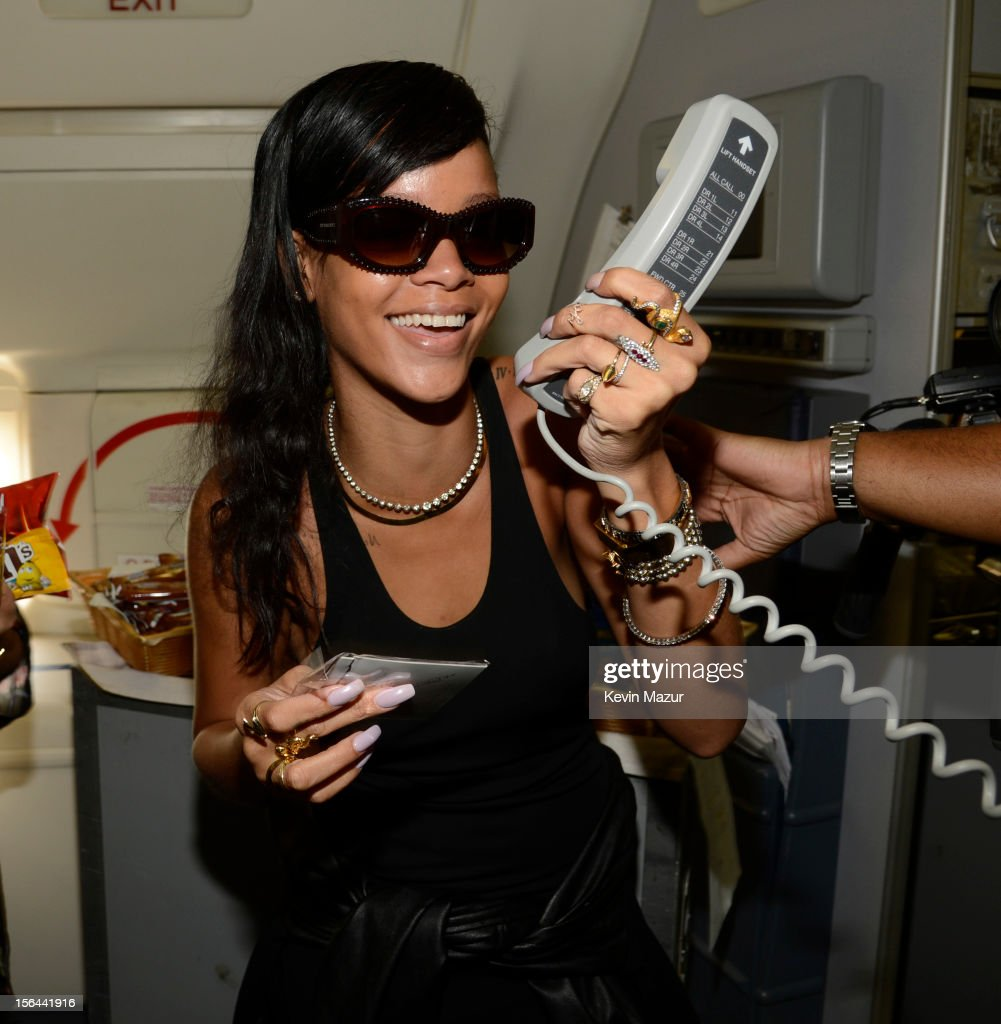Rihanna speaks on the intercom to the passengers on the plane to her first stop on the 777 tour on November 14, 2012. Rihanna's 777 Tour - 7 countries, 7 days, 7 shows in celebration of the November 19, 2012 release of 'Unapologetic.'