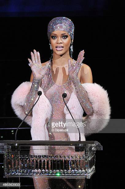 Rihanna speaks onstage at the 2014 CFDA fashion awards at Alice Tully Hall Lincoln Center on June 2 2014 in New York City