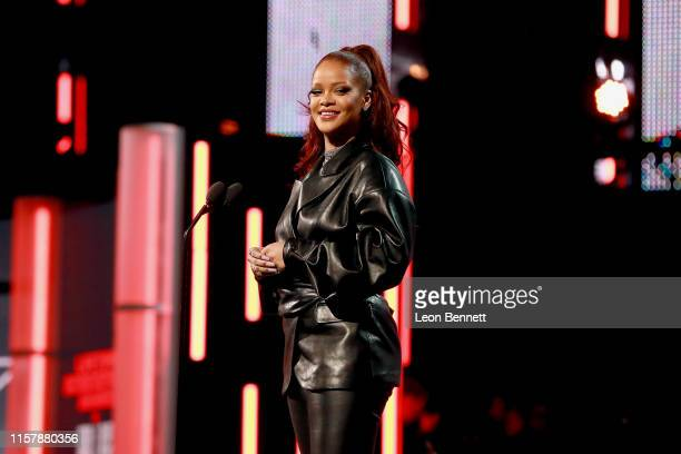 Rihanna speaks onstage at the 2019 BET Awards at Microsoft Theater on June 23, 2019 in Los Angeles, California.