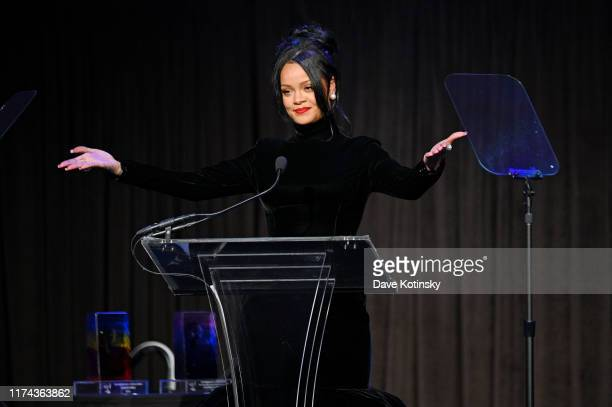 Rihanna speaks onstage during Rihanna's 5th Annual Diamond Ball Benefitting The Clara Lionel Foundation at Cipriani Wall Street on September 12, 2019...