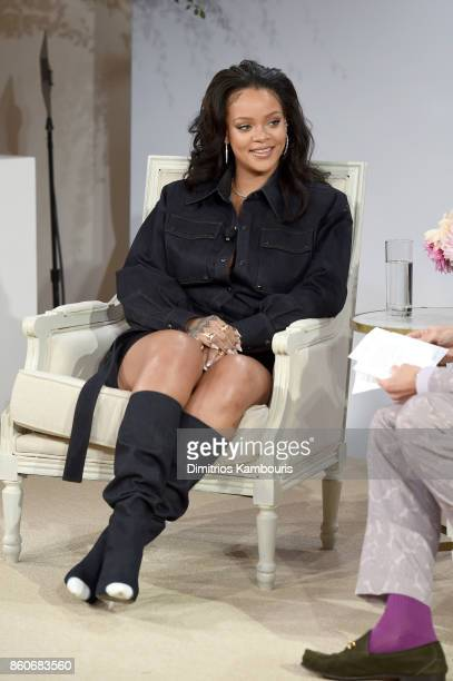 Rihanna speaks onstage during Vogue's Forces of Fashion Conference at Milk Studios on October 12 2017 in New York City