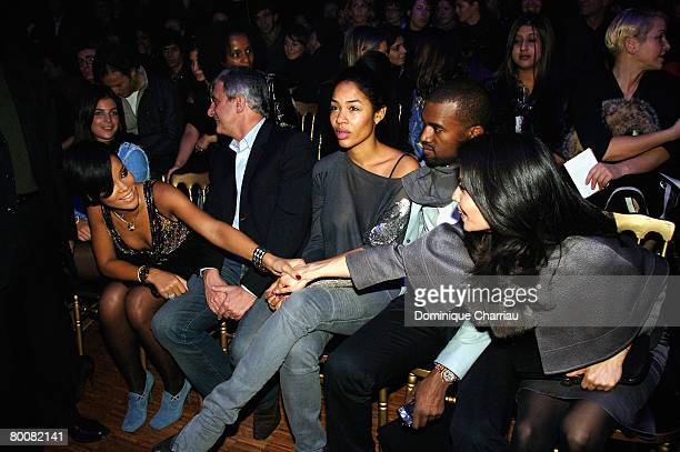 Rihanna Sydney Toledano Alexis Phifer Kanye West and Lucy Liu attend the John Galliano fashion show during Paris Fashion Week Fall/Winter 2008 held...