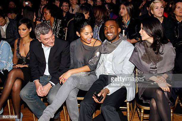Rihanna Sydney Toledano Alexis Phifer recording artist Kanye West and actress Lucy Liu attend the John Galliano fashion show during Paris Fashion...