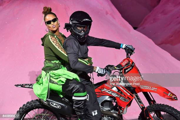"Rihanna took her ""bows"" at the finale of the Fenty Puma by Rihanna Spring Summer 2018 fashion show on the back of a motorcycle."