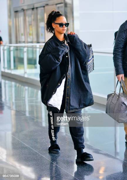 Rihanna touches down at JFK Airport on May 4 2018 in New York City