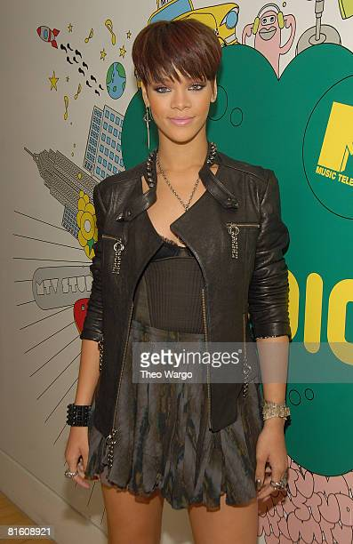 "Rihanna visits MTV's ""TRL"" on June 17, 2008 at the MTV studios in Times Square in New York."