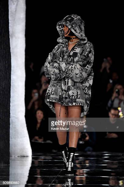Rihanna walks the runway at the FENTY PUMA by Rihanna AW16 Collection during Fall 2016 New York Fashion Week at 23 Wall Street on February 12 2016 in...