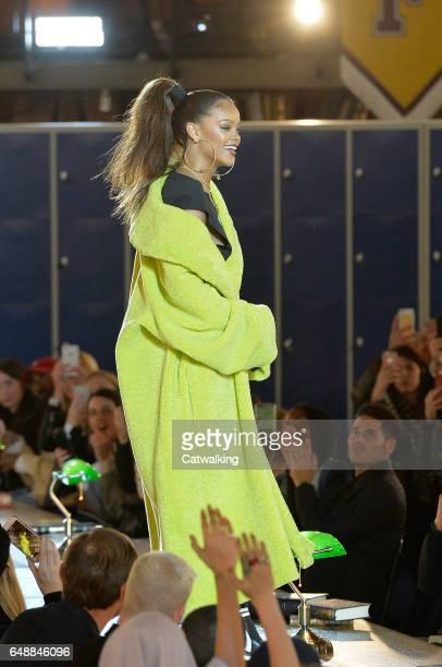 Rihanna walks the runway at the Fenty X Puma by Rihanna Autumn Winter 2017 fashion show during Paris Fashion Week on March 6 2017 in Paris France