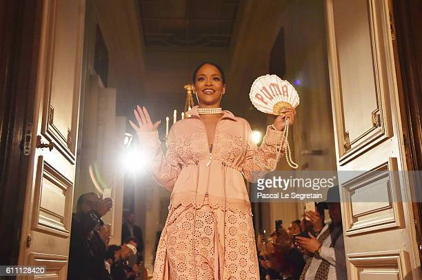 Rihanna walks the runway during FENTY x PUMA by Rihanna at Hotel Salomon de Rothschild on September 28, 2016 in Paris, France.