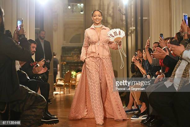 Rihanna walks the runway during FENTY x PUMA by Rihanna at Hotel Salomon de Rothschild on September 28 2016 in Paris France