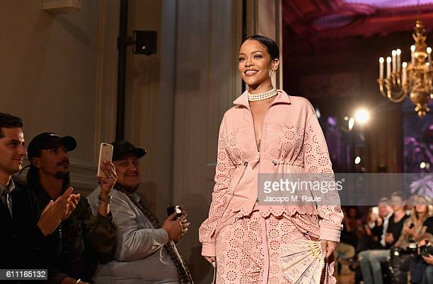 Rihanna walks the runway during FENTY x PUMA by Rihanna at Hotel Salomon de Rothschild on September 28 2016 in Paris France