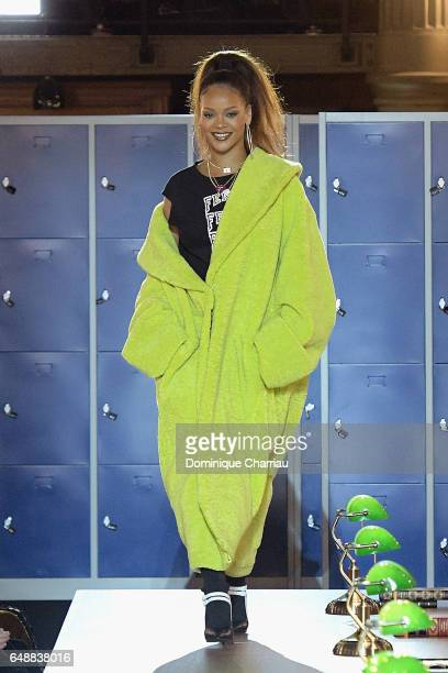 Rihanna walks the runway during the FENTY PUMA by Rihanna as part of the Paris Fashion Week Womenswear Fall/Winter 2017/2018 on March 6 2017 in Paris...