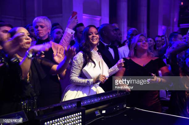 Rihanna watches Childish Gambino perform during her 4th Annual Diamond Ball benefitting The Clara Lionel Foundation at Cipriani Wall Street on...