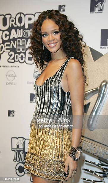 Rihanna winner of best RB during 2006 MTV European Music Awards Copenhagen Press Room at Bella Centre in Copenhagen Denmark
