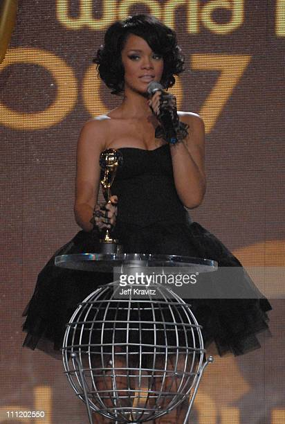 Rihanna with her award for World's Best Selling Pop Female Artist on stage during the 2007 World Music Awards held at the Monte Carlo Sporting Club...
