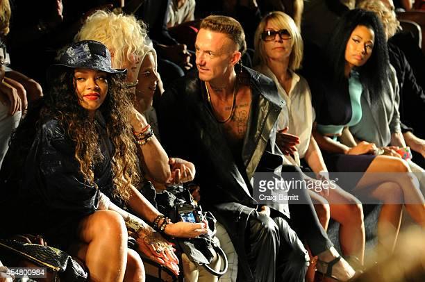 Rihanna Yolandi Visser Ninja and Nicki Minaj attend the Alexander Wang fashion show during MercedesBenz Fashion Week Spring 2015 at Pier 94 on...