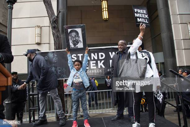 Rihmeek 'Papi Chulo' Williams and Kathy Williams attend a rally protesting the imprisonment of Meek Mill outside the Philadelphia Criminal Justice...