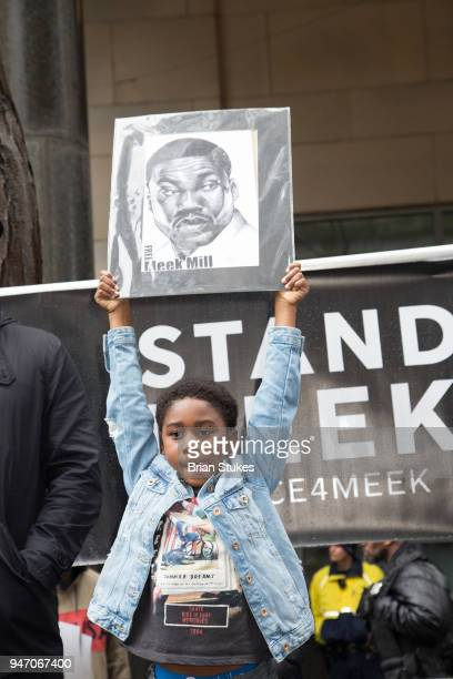 Rihmeek 'Papi Chulo' Williams attends a rally protesting the imprisonment of Meek Mill outside the Philadelphia Criminal Justice Center during the...