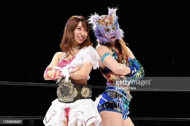 Riho and Mayu Iwatani look on during the Women's Pro-Wrestling 'Stardom' at the Shinkiba 1st Ring on July 11, 2020 in Tokyo, Japan.