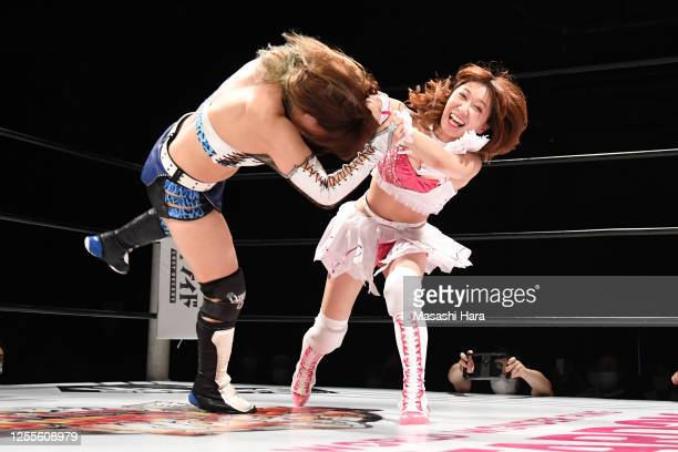 Riho and Momo Watanabe compete during the Women's Pro-Wrestling 'Stardom' at the Shinkiba 1st Ring on July 11, 2020 in Tokyo, Japan.