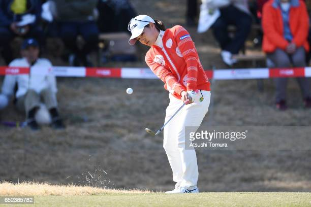 Riho Fujisaki of Japan chips onto the 18th green during the final round of the Yokohama Tire PRGR Ladies Cup at the Tosa Country Club on March 12...