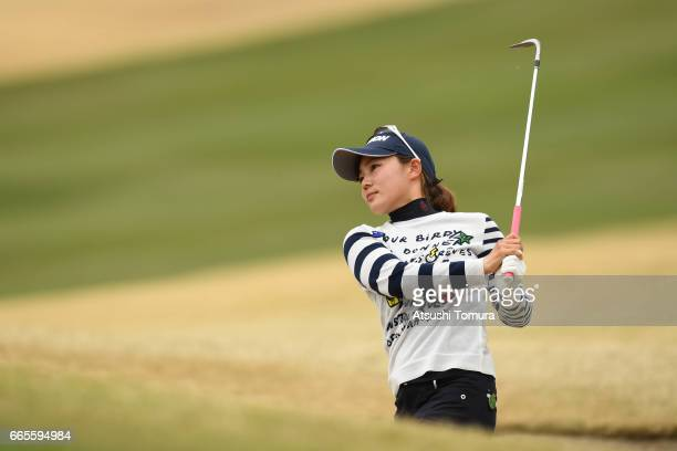 Riho Fujisaki of Japan hits from a bunker on the 14th hole during the first round of the Studio Alice Open at the Hanayashiki Golf Club Yokawa Course...
