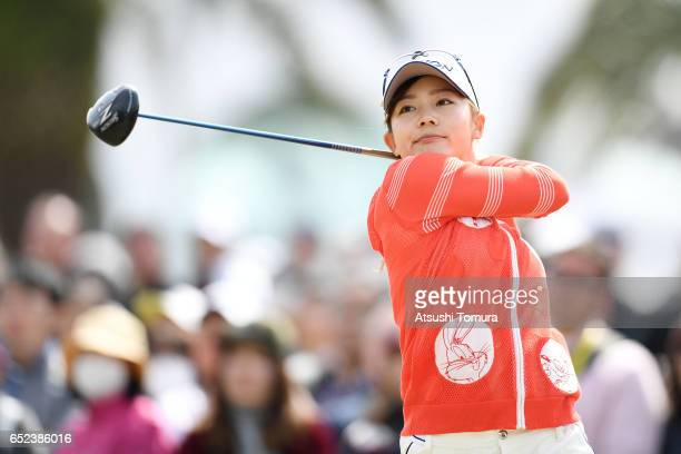 Riho Fujisaki of Japan hits her tee shot on the 10th hole during the final round of the Yokohama Tire PRGR Ladies Cup at the Tosa Country Club on...
