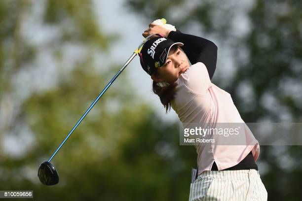 Riho Fujisaki of Japan hits her tee shot on the 3rd hole during the first round of the Nipponham Ladies Classics at the Ambix Hakodate Club on July 7...
