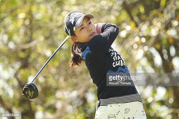 Riho Fujisaki of Japan hits her tee shot on the 4th hole during the T-Point Ladies Golf Tournament at the Wakagi Golf Club on March 20, 2016 in...