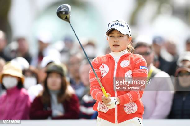 Riho Fujisaki of Japan lines up her tee shot on the 10th hole during the final round of the Yokohama Tire PRGR Ladies Cup at the Tosa Country Club on...