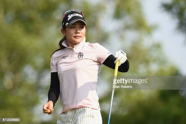 Riho Fujisaki of Japan watches her tee shot on the 3rd hole during the first round of the Nipponham Ladies Classics at the Ambix Hakodate Club on...