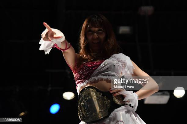 Riho looks on during the Women's Pro-Wrestling 'Stardom' at the Shinkiba 1st Ring on July 11, 2020 in Tokyo, Japan.