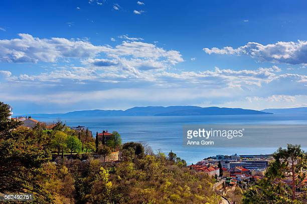 rijeka hillside with adriatic islands in distance - rijeka stock pictures, royalty-free photos & images