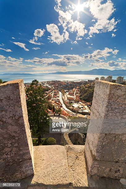 rijeka view from trsat castle, afternoon - rijeka stock pictures, royalty-free photos & images