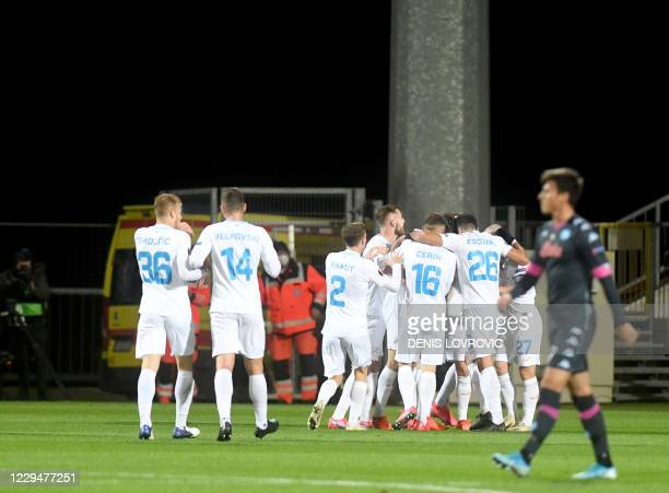 Rijeka's players celebrate after scoring a goal during the UEFA Europa League Group F stage match between HNK Rijeka and SSC Napoli at the Rujevica...